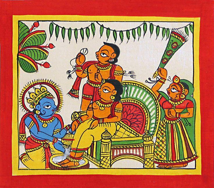 Lord+Krishna+Washing+His+friend+Sudama's+Feet+(Phad+Painting+on+Cloth+-+Unframed))+