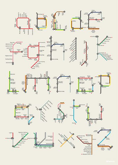 London-based designer and illustrator Tim Fishlock posterized Harry Beck's famous alphabet made of sections and lines from the London Underground map. (Quoted from brainpickings.org)