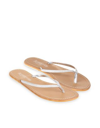 Sparkly Leather Flip Flops
