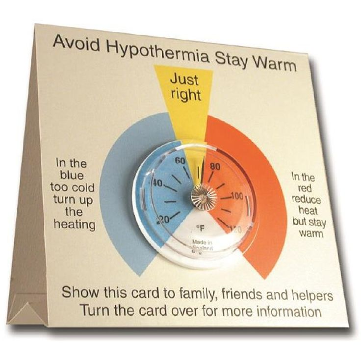 65mm dial hypothermia thermometer on a printed card with large easy to read coloured zones. Card opens out to stand on a table or worktop.