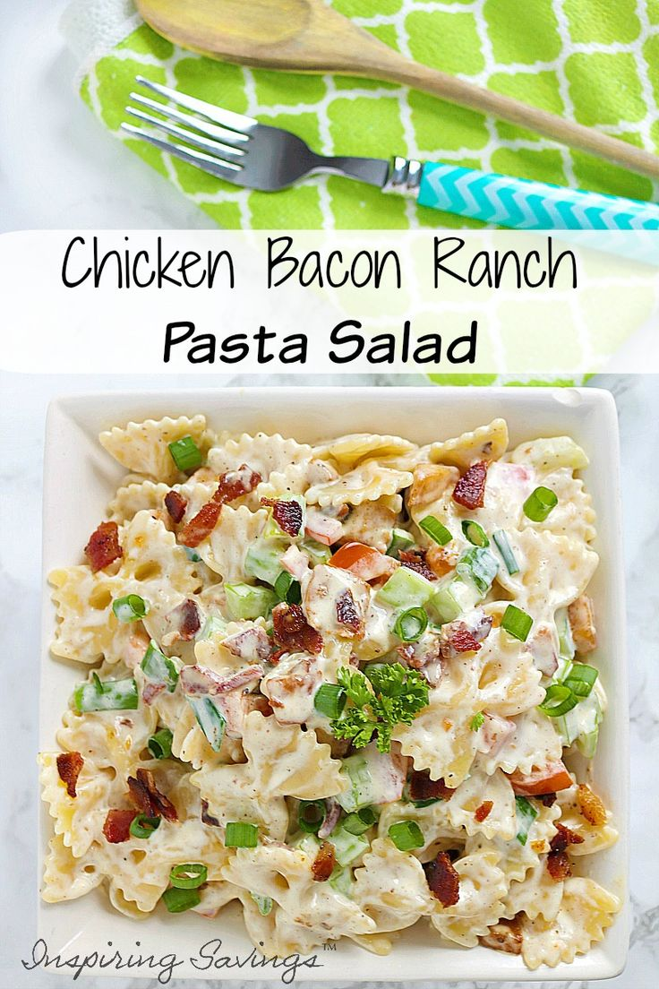 Looking for a great summertime side recipe. You are going to love this chicken Bacon Ranch Pasta Salad