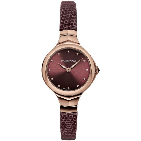 EMPORIO ARMANI Swiss Made Watches (3.920 RON) ❤ liked on Polyvore featuring jewelry, watches, bordeaux, buckle watches, womens jewellery, mens wrist watch, bracelet wrist watch and pandora jewelry