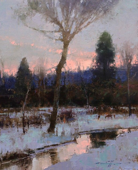 "Winter's Calm by Brent Cotton. Oil, 10"" x 8"""