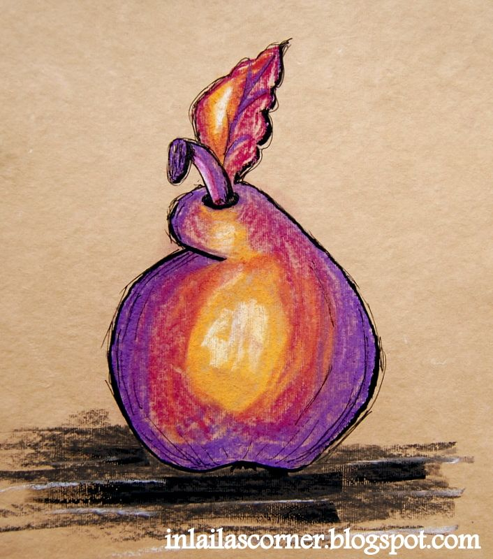 Funny pear made on hand made paper using pastel sticks and ink.