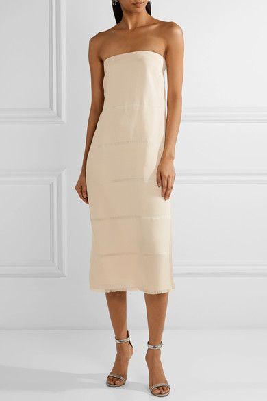 Elizabeth and James - Clarence Strapless Devoré Silk Midi Dress - Beige - US10