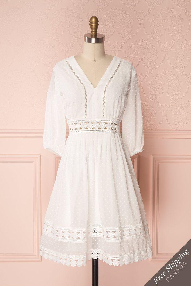 Reva White Plumetis Lace Chiffon Cut-Outs Short Dress | Boutique 1861