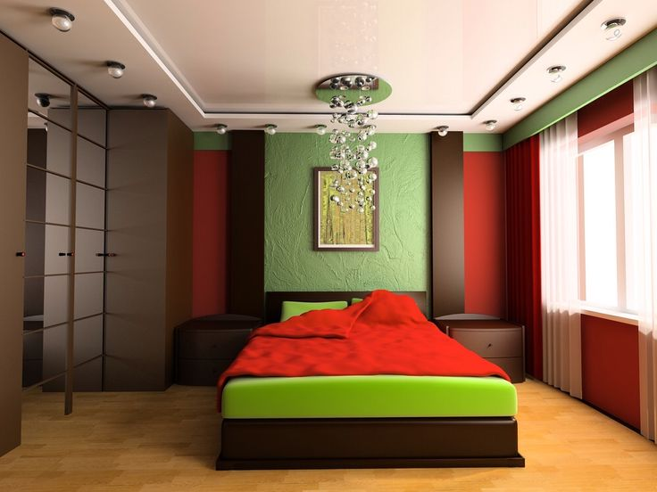Modern stylish and vibrant red and lime green bedroom a for Bright green interiors