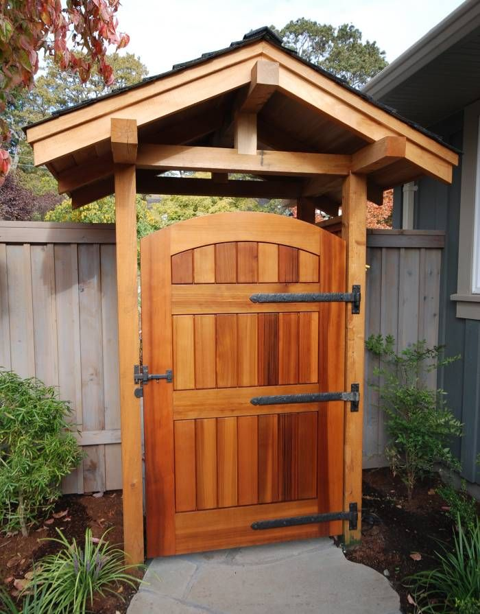 Wood Gate With Heavy Duty Coastal Bronze Strap Hinges