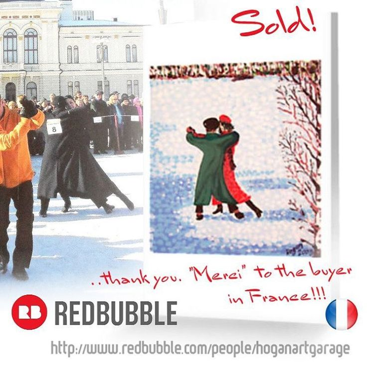 ..Sold!! ...merci and thanks to the person in France who recently bought this 'Snow Tango' greeting card design from my Redbubble webshop! (background photo credit:Jari Makinen) #vivalafrance #sold #redbubble #thankyou #merci #redbubblesale #tango #dancers #art #artist #painting #greetingcards #snowtango #hoganfinland #finnishtango #cards #artcards #finland #finnishart