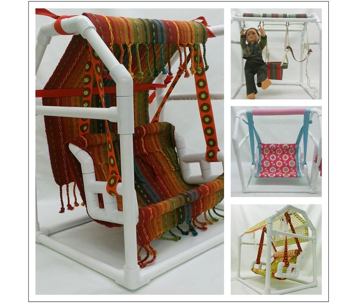 """18"""" doll PVC Bench Swing and Swing Set patterns with easy-sew coverings."""