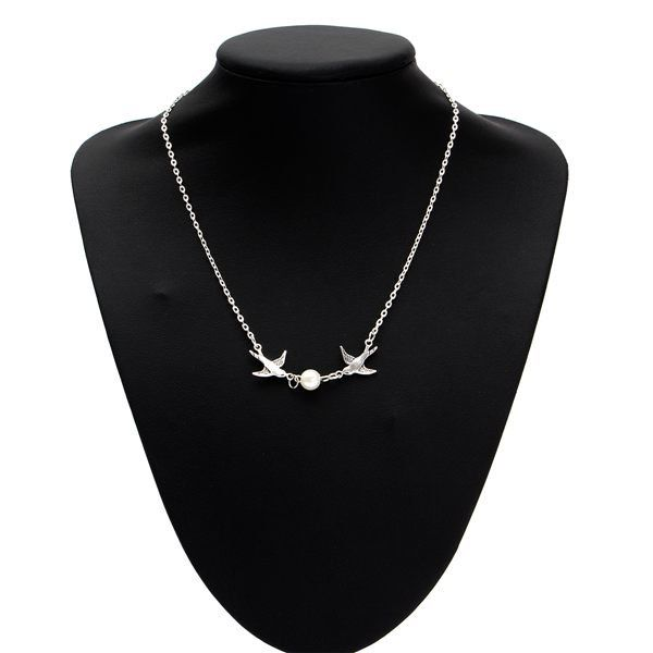 Cute Silver Pearl Bird Pendant Clavicle Chain Necklace For Women