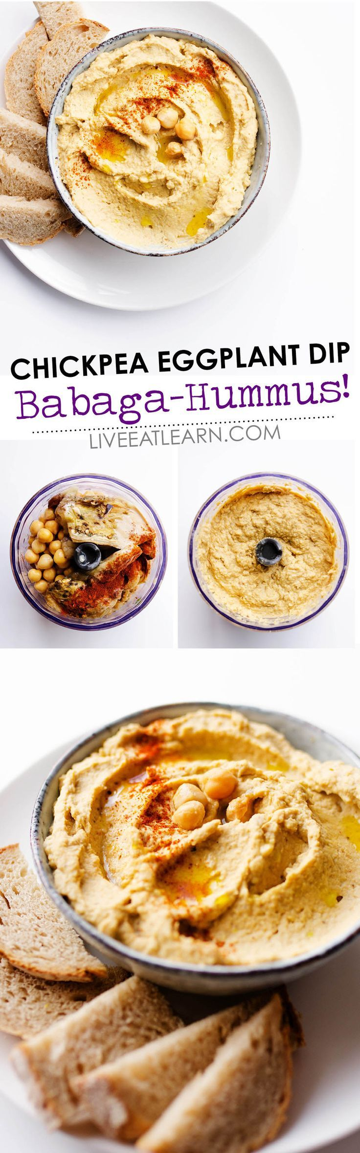 Love hummus but looking to change it up a bit? This healthy Baba Ganoush Hummus recipe is a chickpea/eggplant hybrid that's rich, creamy, and dreamy! The perfect dip for serving as an easy appetizer for potlucks or just as a snack. // Live Eat Learn