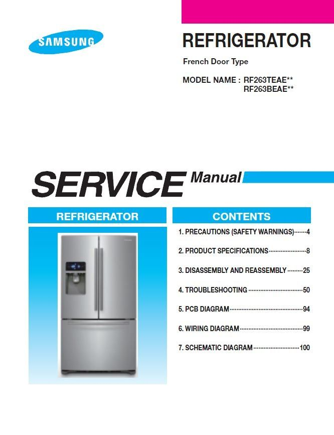 Samsung Rf263beaesr Refrigerator Service Manual Troubleshooting Refrigerator Service Samsung Refrigerator French Door Disassembly