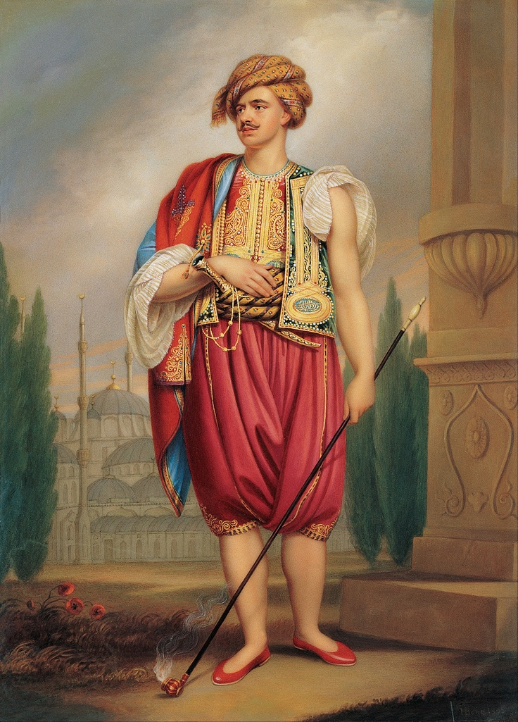 portrait of thomas hope in turkish costume by henry bone /early 19th century