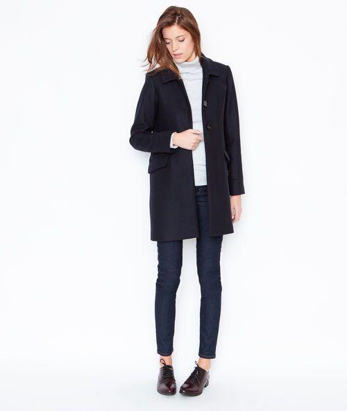 Manteau en laine à col tailleur - NATHAN - BLEU MARINE - Etam