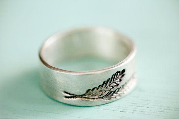 SILVER FERN RING  wheat ring feather ring leaf by boygirlparty