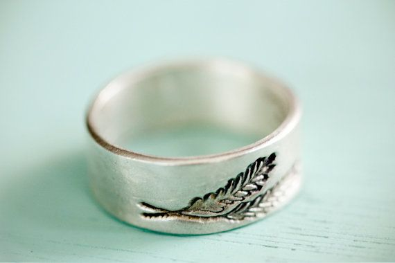 SILVER FERN RING - ecofriendly wedding ring band - leaf ring - sterling silver ring with wheat feather drawing by boygirlparty