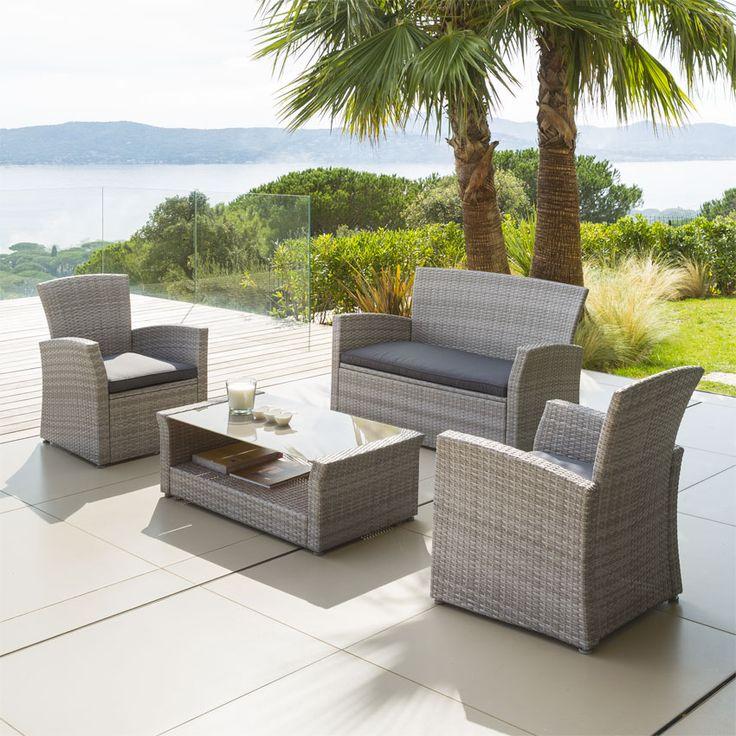 Salon de jardin Bora Bora Gris clair - 4 places : choisissez parmi tous nos produits Salon de jardin détente