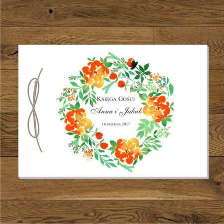 Wianek - kwiaty pomarańczowe - sznurek eko