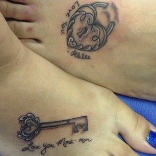 40 Beautifully Touching Mother/Daughter Tattoos - I like the idea that one has a lock and the other the key-tattoo