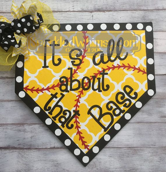 Beautiful Baseball Softball Sign: All About That Base Door By SparkledWhimsy