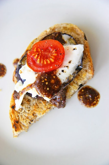 Burrata and Eggplant Crostini-- get rid of the eggplant and it's the sh!t.