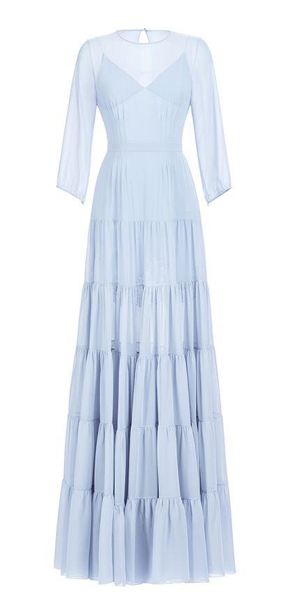 54113ffb899e156 Платье с пышной юбкой ярусами в пол из шифона, пышный рукав, шифон голубой.  Нижняя сорочка - атлас голубой, кружево черное. Пу… | сшить (когда нибудь)  ...