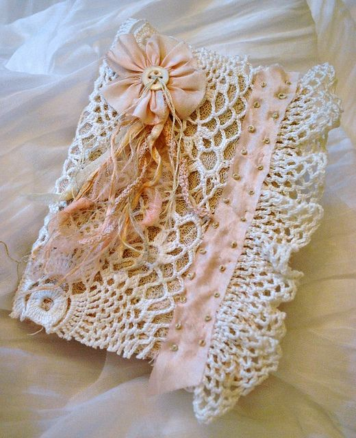fabric lace journal by Sandra Blanks