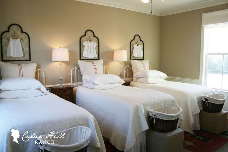 Cedar hill ranch decorating with antique grain sacks for Clean bedroom ideas