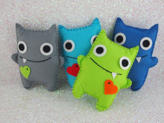 Boys Felt Mini Monsters Adopt A Monster by CharliesPartiesUK