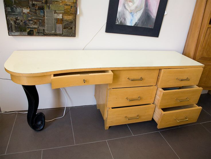 1950u0027s , Blonde Art Deco Style Bedroom Desk