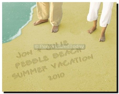 Names on beach bare feet toes sand ocean vacation love for Wedding anniversary trip ideas