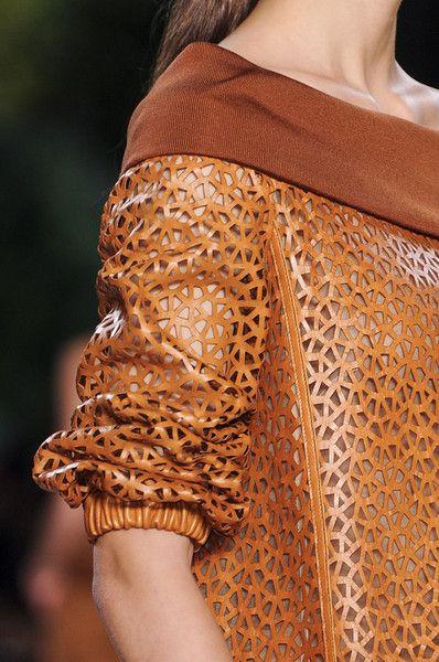 Laser Cut Leather Dress with geometric surface pattern; lasercut fashion details // Akris