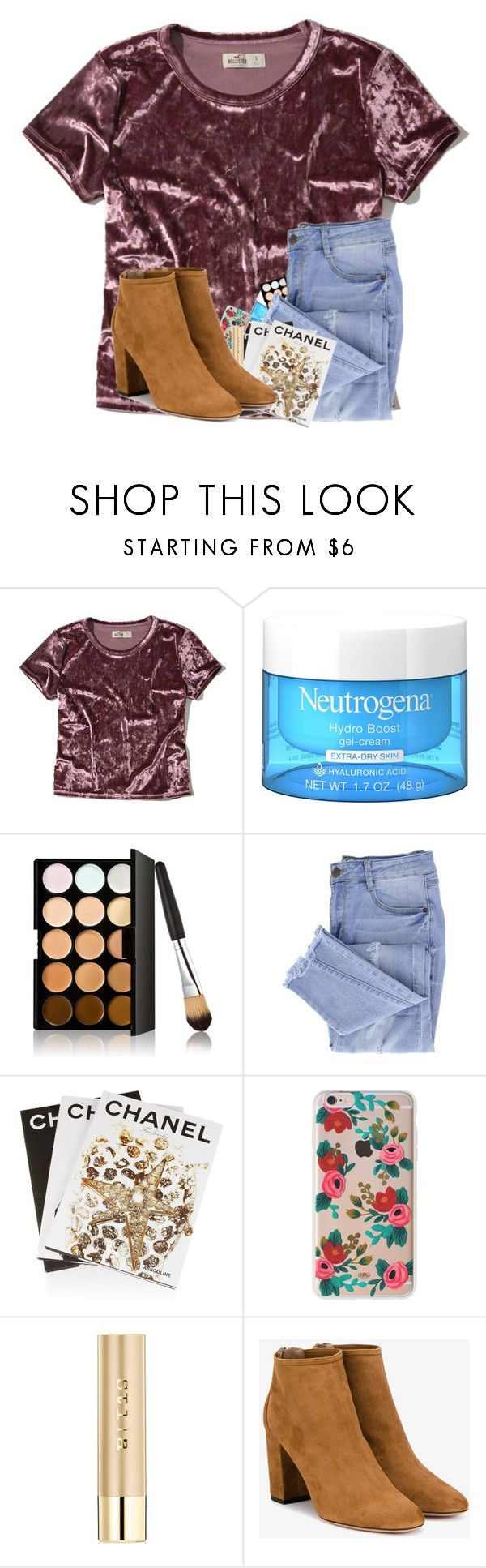 """I passed out? Read D❗️"" by kennabug10 ❤ liked on Polyvore featuring Hollister Co., Essie, Assouline Publishing, Rifle Paper Co, Stila and Aquazzura"