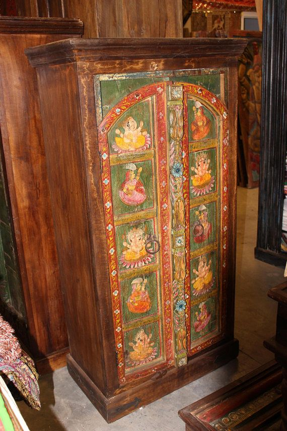 Antique Armoire Ganesha Hand Painted Cabinet Hand Carved Uniq Antique Armoire Wooden Armoire Painting Cabinets
