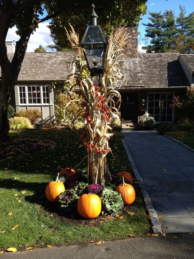 lamppost fall Google Search in 2020 Fall outdoor decor