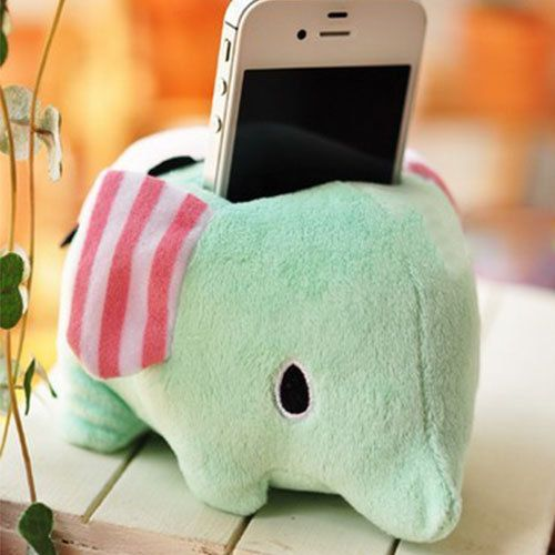 Cute Sweet Cartoon Lovely Plush Elephant Phone Stand Holder for iPhone