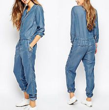 Dámské Denim Jeans pro volný čas s dlouhým rukávem Celkově Volné kalhoty Kombinéza Chic