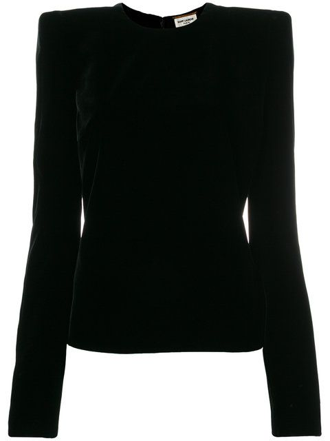 GABRIELLE'S AMAZING FANTASY CLOSET | Saint Laurent's Black Velvet Top has a Round Neck, Long, Slender Sleeves and a Shaped Body. But the Defining Features of this Top are the Sharply Structured Shoulders. They make your Waist Look Tiny. Highlight the effect with a Wide, Silver Belt and wear them over a Slender Black Velvet Maxi-Skirt with a Slight Walking Flare. Finish with Big Diamonds, a Silver Box Bag and Black Velvet Ankle-Boots (It's all on this board). I knew you'd like it! - Gabrielle