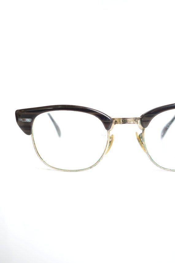 2fef6a5178e6 1950s Mens Horn Rim Glasses – 50s Mens Browline Faux Bois Glasses – Mens  Wooden Retro Glasses – Mens Horn Rim Eyeglasses | Oliver & Alexa Vintage  Eyewear ...