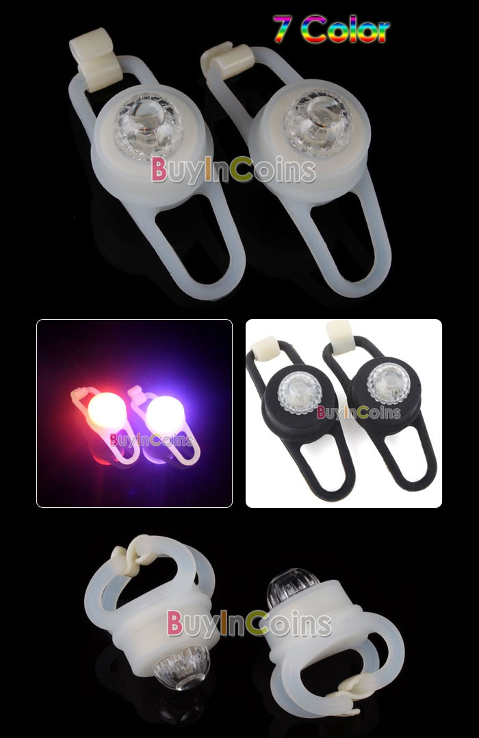 Silicone Bike Bicycle Color Rear Wheel LED Flash Light - 2.8$