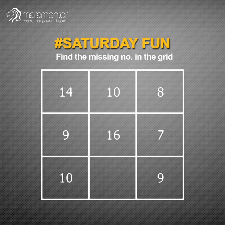 #Saturday Fun Find the missing no. in the grid
