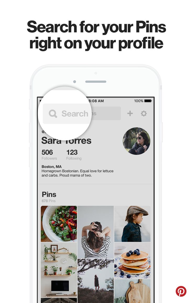 Type in a search on your mobile profile to find the exact boards and Pins you're looking for.