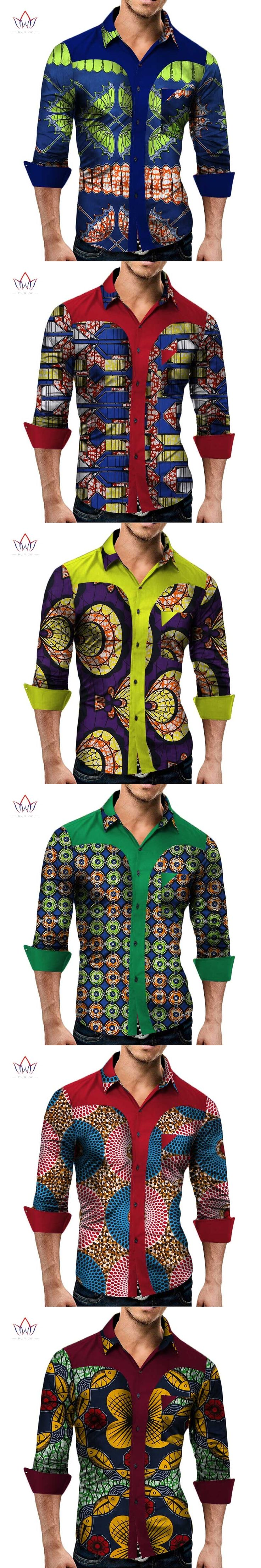 Plus Size New Summer 2017 African Shirt for Men Dashiki Long Sleeve African Clothes Patchwork Casual Style Men Shirt BRW WYN349