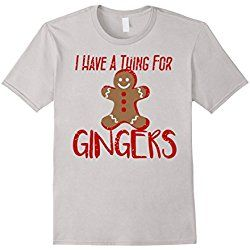 Men's I Have A Thing For GINGERS Fun Cookie Christmas Treat Tee Large Silver