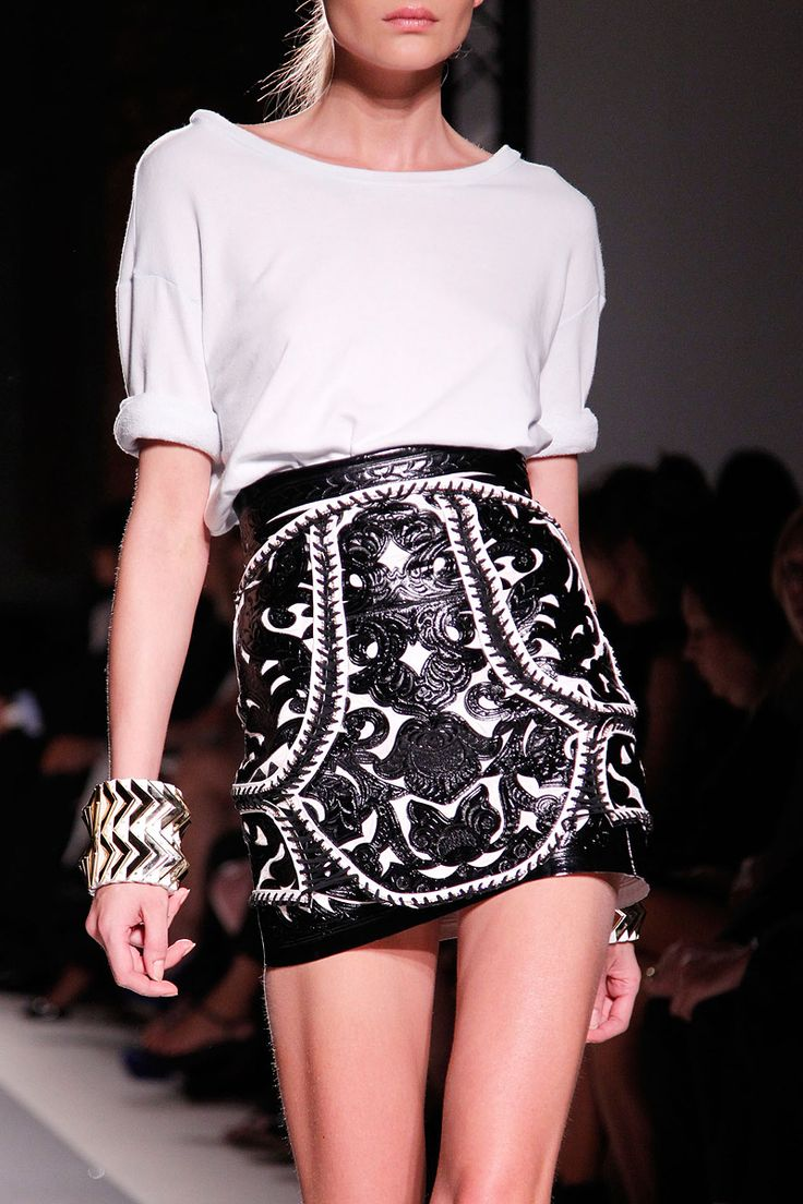 skirt detail paired with this simple silk shirt is amazing...Balmain S/S '12