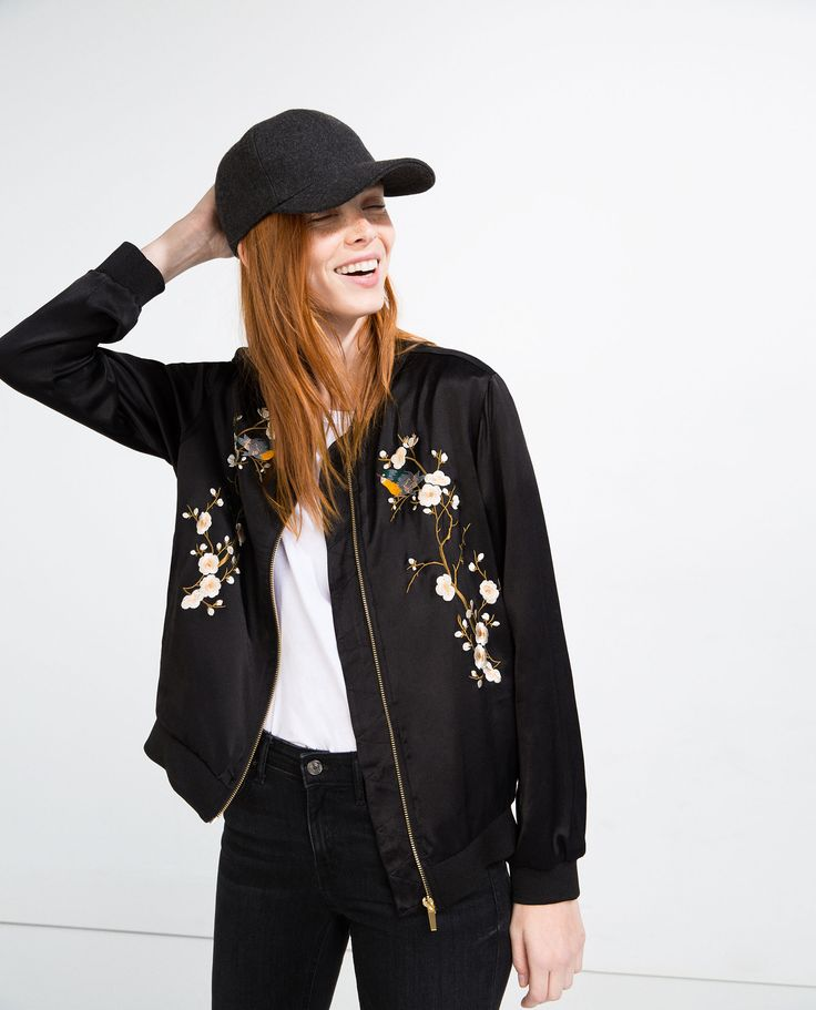 Image of floral embroidered bomber jacket from zara