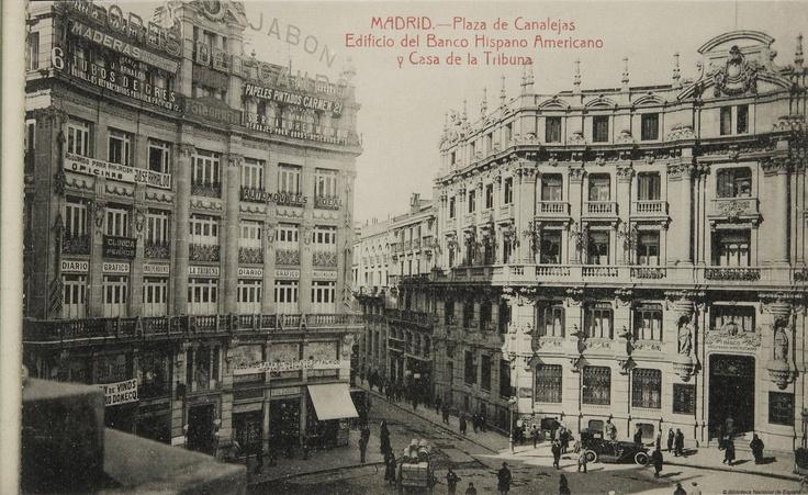 plaza de canalejas y carrera de san jerónimo en mayo de 1915 [fuente: biblioteca nacional)