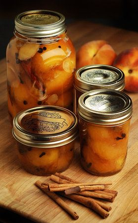 Pickled Peaches recipe http://allrecipes.com/recipe/nanas-southern-pickled-peaches/