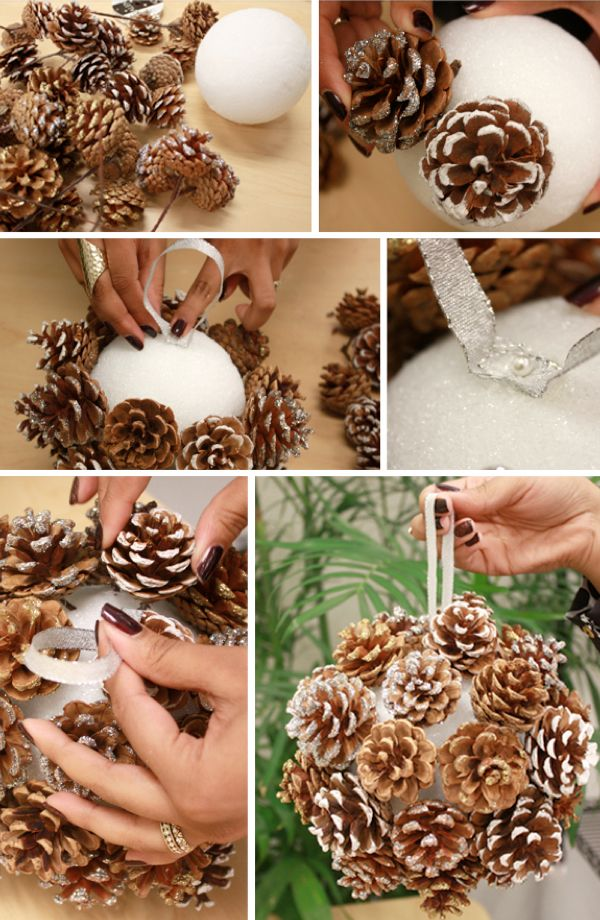 How to make a hanging pinecone ball. If you wrapped the extra space with pine and added ribbon it'd be so cute! Plus, put it on top of a candle holder. Super cute.